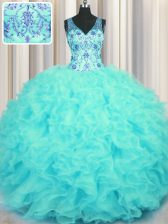 Wonderful V-neck Sleeveless Organza 15 Quinceanera Dress Beading and Appliques and Ruffles Zipper