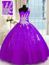 Perfect Floor Length Purple 15 Quinceanera Dress One Shoulder Sleeveless Lace Up