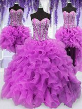 Charming Four Piece Organza Sweetheart Sleeveless Lace Up Ruffles and Sequins Sweet 16 Dress in Fuchsia