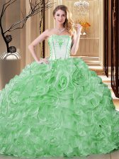Glittering Green Sleeveless Embroidery and Ruffles Floor Length Quinceanera Gowns