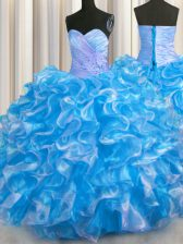 Floor Length Ball Gowns Sleeveless Blue And White Quince Ball Gowns Lace Up