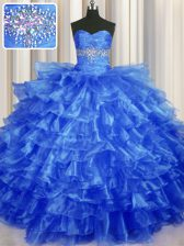 Sweetheart Sleeveless Organza Sweet 16 Quinceanera Dress Beading and Ruffled Layers Lace Up