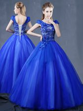 Organza Short Sleeves Floor Length 15 Quinceanera Dress and Lace and Appliques