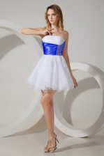 White Damas Dress Prom and Party with Beading Strapless Sleeveless Zipper