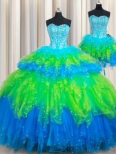 Three Piece Ruffled Sweetheart Sleeveless Lace Up Ball Gown Prom Dress Multi-color Tulle