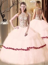 Beautiful Pink Scoop Neckline Beading and Appliques Sweet 16 Quinceanera Dress Sleeveless Lace Up