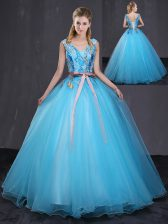 V-neck Sleeveless Sweet 16 Quinceanera Dress Floor Length Appliques and Belt Blue Tulle