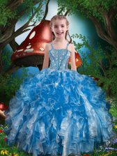 Blue Sleeveless Floor Length Beading and Ruffles Lace Up Child Pageant Dress