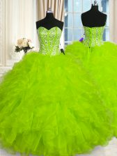 Eye-catching Sleeveless Beading and Ruffles Floor Length Quince Ball Gowns