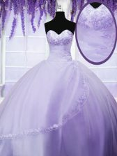 Charming Floor Length Lavender Quinceanera Gown Tulle Sleeveless Appliques