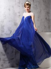 Admirable Sleeveless Chiffon and Sequined Floor Length Zipper in Royal Blue with Lace and Sequins