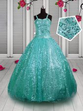 Floor Length Turquoise Little Girls Pageant Dress Sequined Sleeveless Beading and Sequins