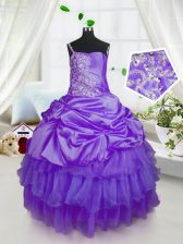 Pick Ups Ruffled Floor Length Purple Child Pageant Dress Strapless Sleeveless Lace Up