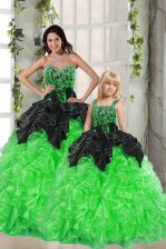 Ideal Sleeveless Floor Length Beading and Ruffles Lace Up Quinceanera Dresses with