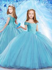 Baby Blue Kids Formal Wear Party and Wedding Party with Beading Off The Shoulder Cap Sleeves Brush Train Lace Up