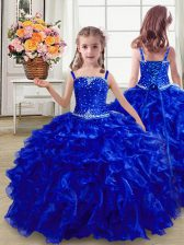 Wonderful Floor Length Royal Blue Little Girls Pageant Gowns Straps Sleeveless Lace Up