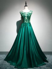 Excellent Dark Green Sleeveless Beading and Lace and Appliques and Embroidery Backless Prom Party Dress