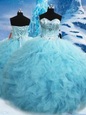 Great Aqua Blue Ball Gowns Tulle Sweetheart Sleeveless Beading and Pick Ups Floor Length Lace Up Sweet 16 Quinceanera Dress