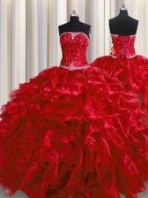 Wine Red Sleeveless Floor Length Beading and Ruffles Lace Up Sweet 16 Quinceanera Dress