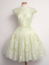 Light Yellow Court Dresses for Sweet 16 Prom and Party and Wedding Party with Lace Scalloped Cap Sleeves Lace Up