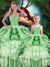 Stylish Sleeveless Beading and Ruffles and Ruffled Layers Lace Up Vestidos de Quinceanera