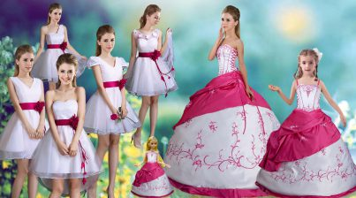 High End White Ball Gowns Taffeta Strapless Sleeveless Embroidery and Pick Ups Floor Length Lace Up 15th Birthday Dress
