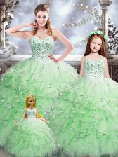 Dazzling Sleeveless Organza Floor Length Lace Up 15th Birthday Dress in Apple Green with Beading and Ruffles