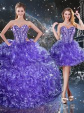 Charming Purple Sleeveless Floor Length Beading and Ruffles Lace Up Quinceanera Dresses