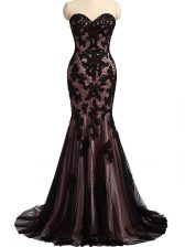 High End Sweetheart Sleeveless Prom Gown Brush Train Lace and Appliques Black Tulle and Lace