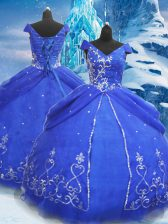 Attractive Blue Lace Up 15 Quinceanera Dress Beading and Appliques Short Sleeves Floor Length