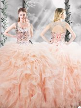 Sweet Peach Straps Neckline Beading and Ruffles Quinceanera Dresses Sleeveless Lace Up
