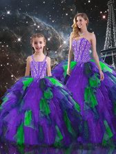 Organza Sweetheart Sleeveless Lace Up Beading and Ruffles Sweet 16 Dresses in Multi-color