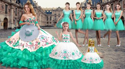 Sweetheart Sleeveless Organza 15th Birthday Dress Embroidery and Ruffled Layers Lace Up