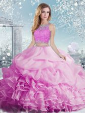Delicate Beading and Ruffles and Pick Ups Ball Gown Prom Dress Lilac Clasp Handle Sleeveless Floor Length