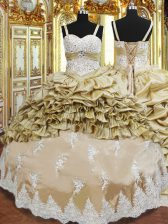 Floor Length Ball Gowns Sleeveless Champagne Quinceanera Gowns Lace Up