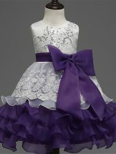 Organza Scoop Sleeveless Zipper Lace and Ruffled Layers and Bowknot Little Girls Pageant Gowns in White And Purple