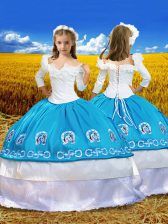 Off The Shoulder 3 4 Length Sleeve Little Girl Pageant Dress Floor Length Embroidery and Ruffles Blue And White Taffeta