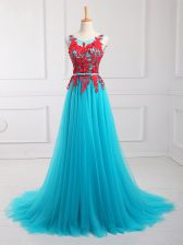 Aqua Blue Sleeveless Tulle Brush Train Zipper for Prom and Party