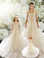 White Tulle Lace Up Off The Shoulder Half Sleeves Quinceanera Dress Court Train Lace