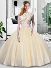 Suitable Champagne Sleeveless Lace and Appliques and Ruching Floor Length 15th Birthday Dress