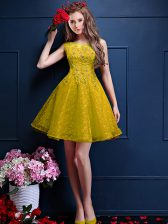 Yellow A-line Tulle Bateau Sleeveless Beading and Lace Knee Length Lace Up Quinceanera Dama Dress