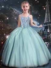 High Quality Teal Lace Up Toddler Flower Girl Dress Beading Sleeveless Floor Length