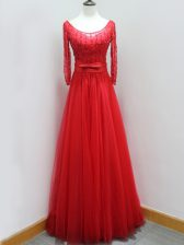 Flirting Red Scoop Backless Beading and Belt Prom Evening Gown Brush Train Long Sleeves
