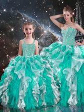Flirting Multi-color Sleeveless Beading and Ruffles Floor Length Quince Ball Gowns