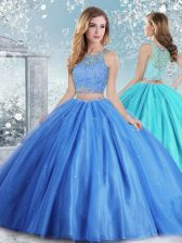 Tulle Sleeveless Floor Length Vestidos de Quinceanera and Beading and Sequins