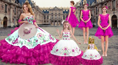 Extravagant Fuchsia Sweetheart Neckline Embroidery and Ruffled Layers Quinceanera Dresses Sleeveless Lace Up