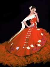 Suitable Ball Gowns Sleeveless Rust Red Sweet 16 Quinceanera Dress Brush Train Lace Up