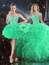 Superior Beading and Ruffles Quinceanera Gowns Green Lace Up Sleeveless Floor Length