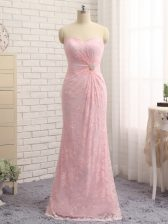 Superior Floor Length Zipper Prom Evening Gown Baby Pink for Prom and Party and Military Ball and Beach with Beading and Lace and Appliques