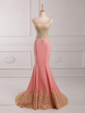Exceptional Watermelon Red Sleeveless Lace and Appliques Side Zipper Homecoming Dress